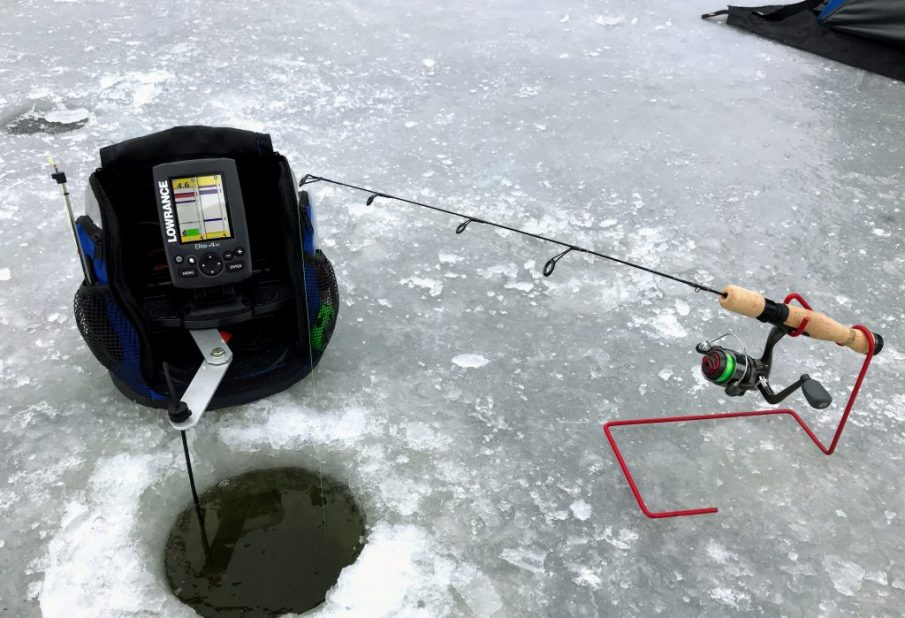 Ice fishing rod and lowrance fish finder/flasher