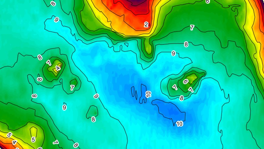 Depth contour map