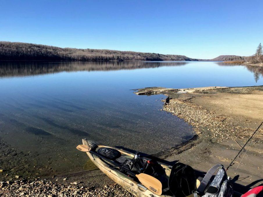 kayak on lake shore