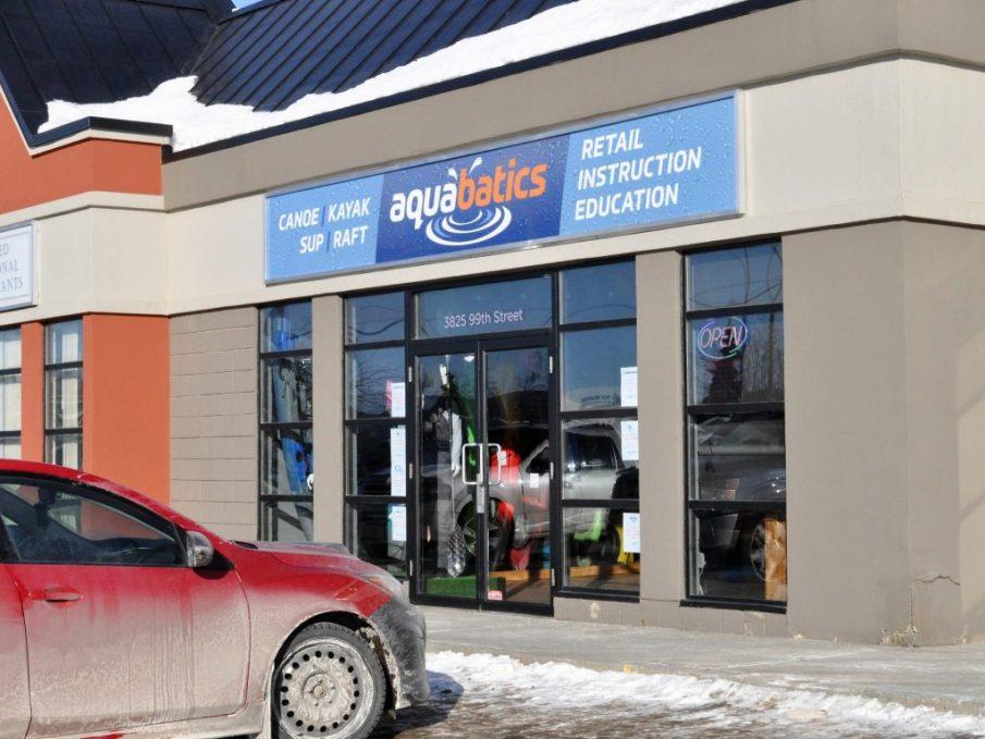Aquabatics store in Edmonton, storefront
