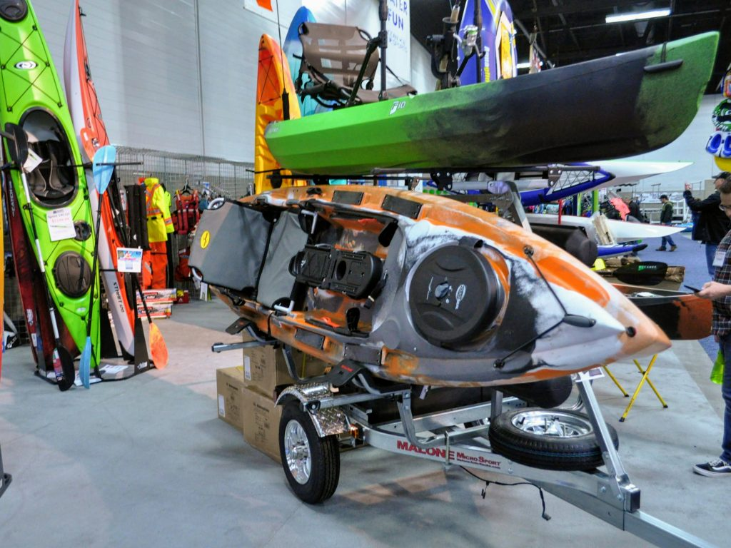 Fishing kayak on trailer