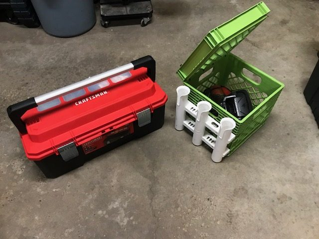 My fishing toolbox and kayak Milk Crate