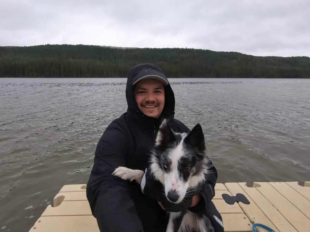 Me and my dog Icy by the lake.