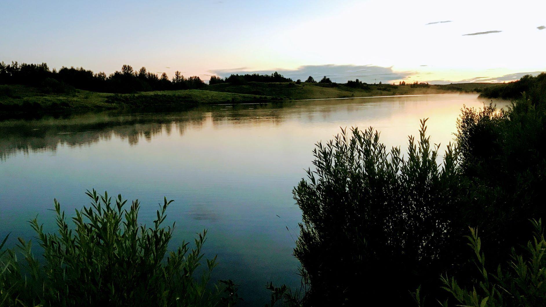 East pit lake at sunset