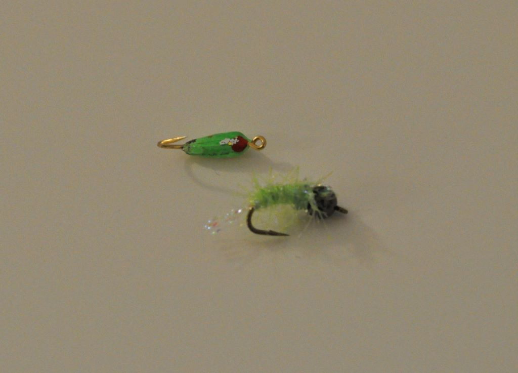 Green ice fishing jigs