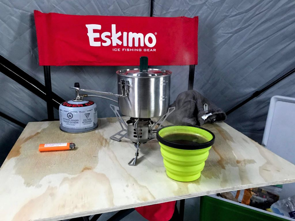 hot coffee and camp stove