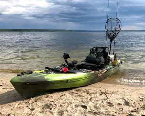 fishing kayak on beach