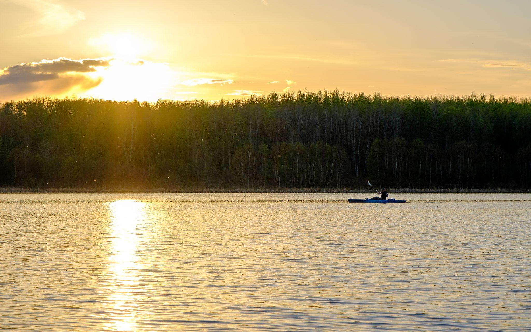 kayak fishing silhouette